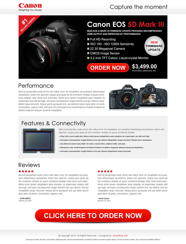 digital camera clean and most converting call to action landing page template
