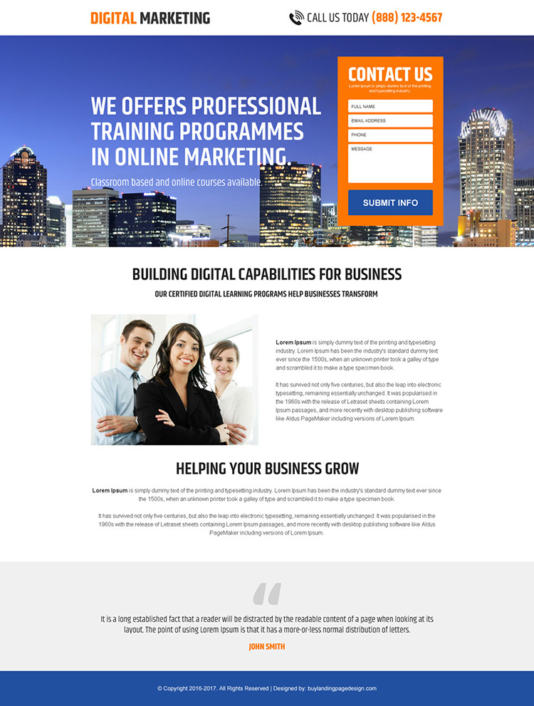 minimal digital marketing business landing page design