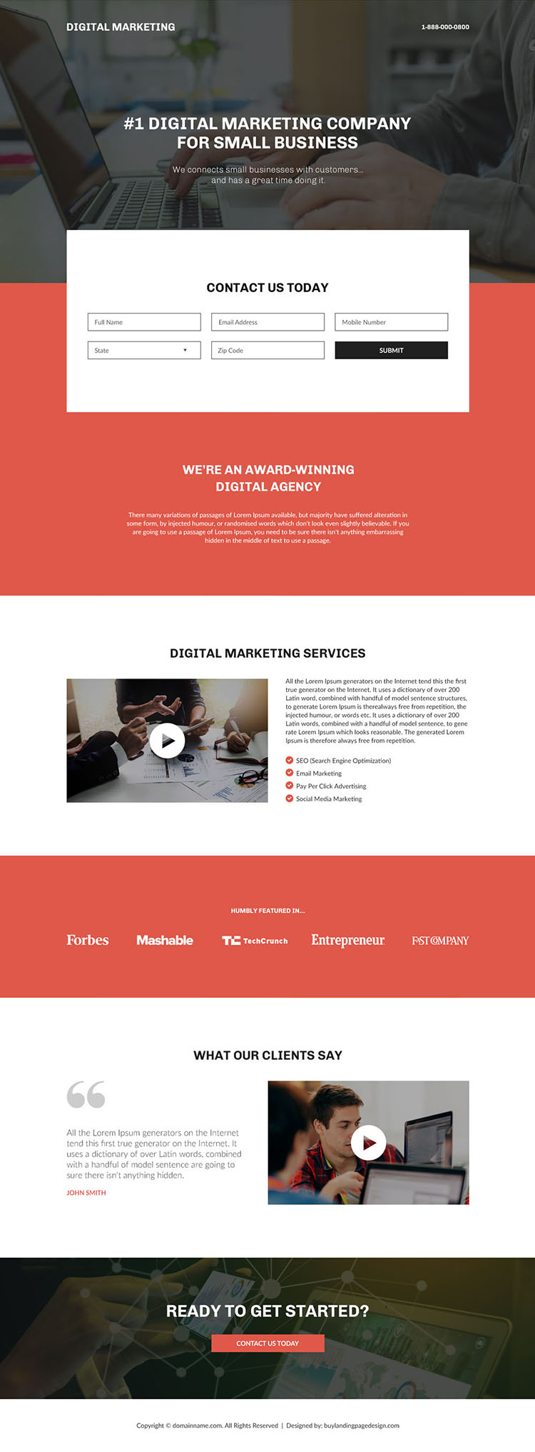 digital marketing company for small business landing page
