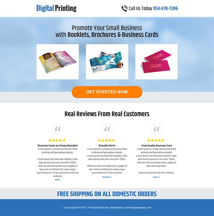 digital printing service mini landing page design