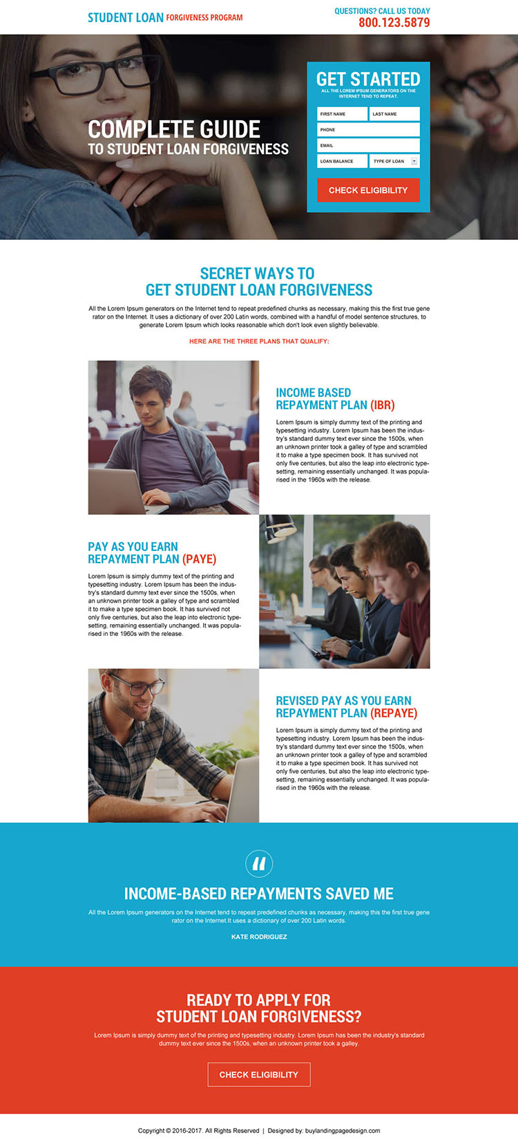 direct student loan forgiveness lead generating landing page