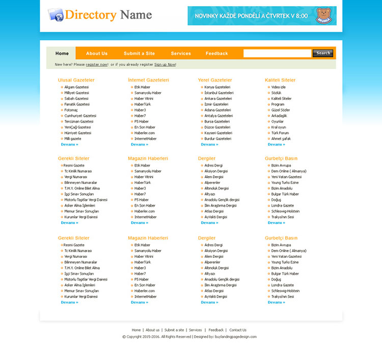 clean and professional web directory website template design psd