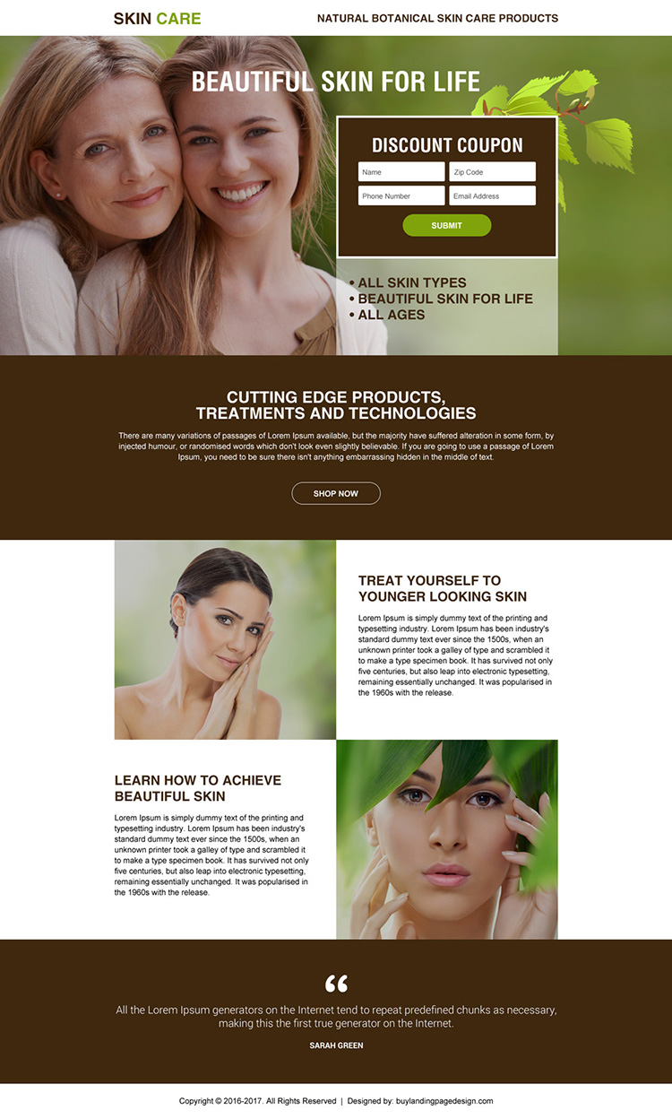 skin care product selling minimal landing page