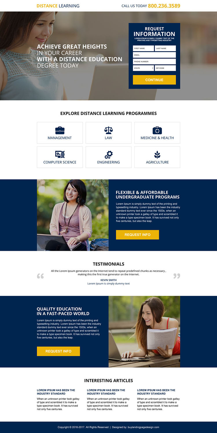 distance education online degree lead magnet landing page design