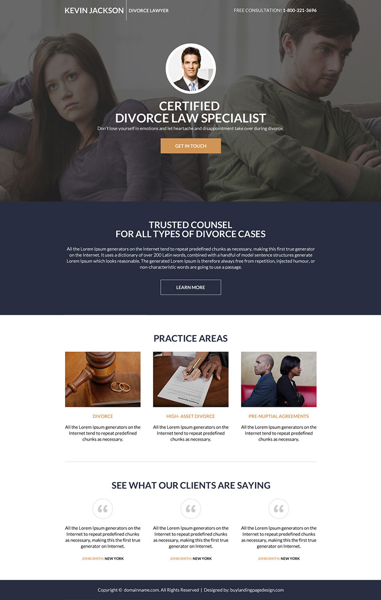divorce lawyer mini lead generating landing page design