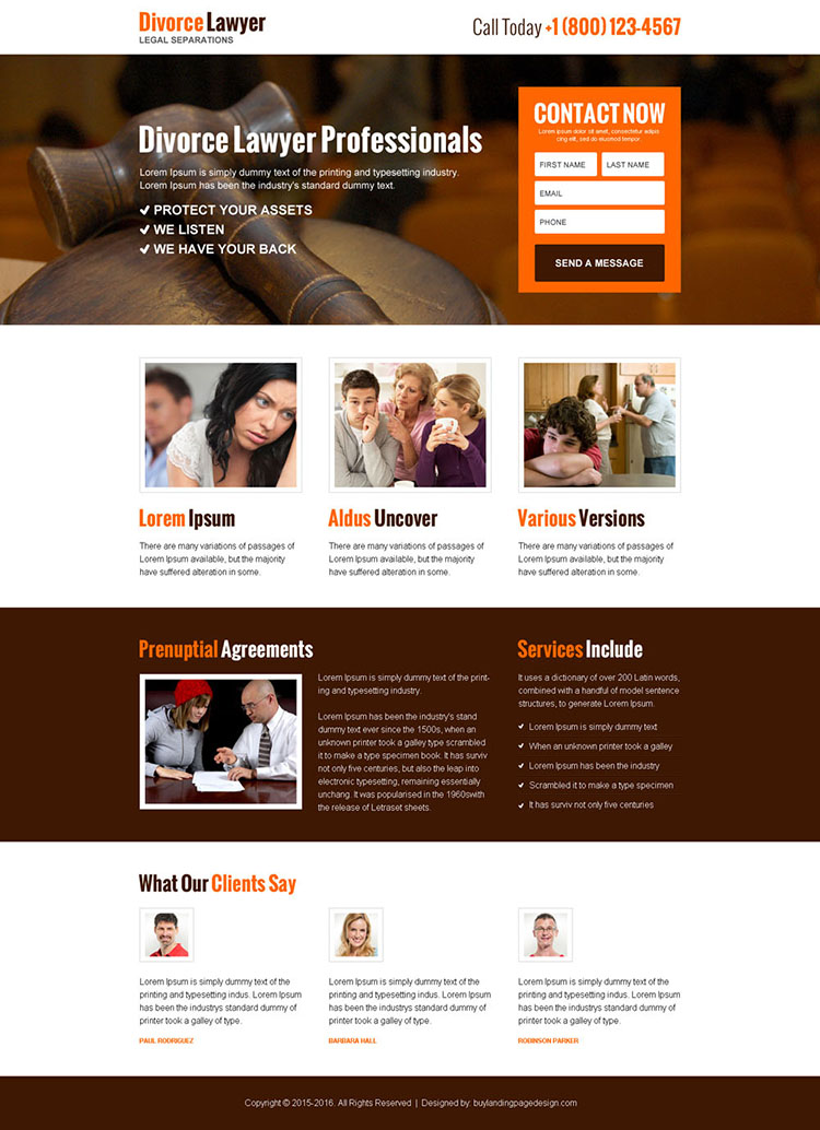 divorce lawyer professionals lead capture landing page design