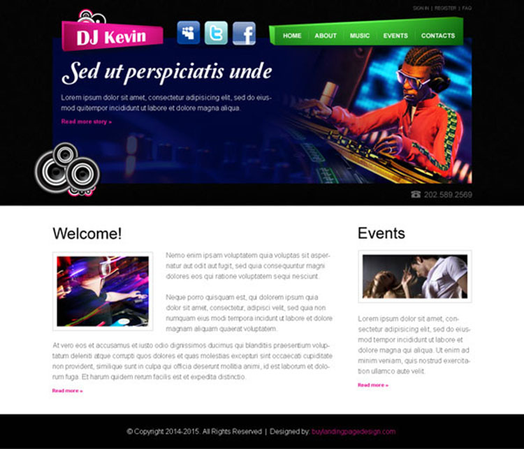 dj attractive and effective personal website template psd
