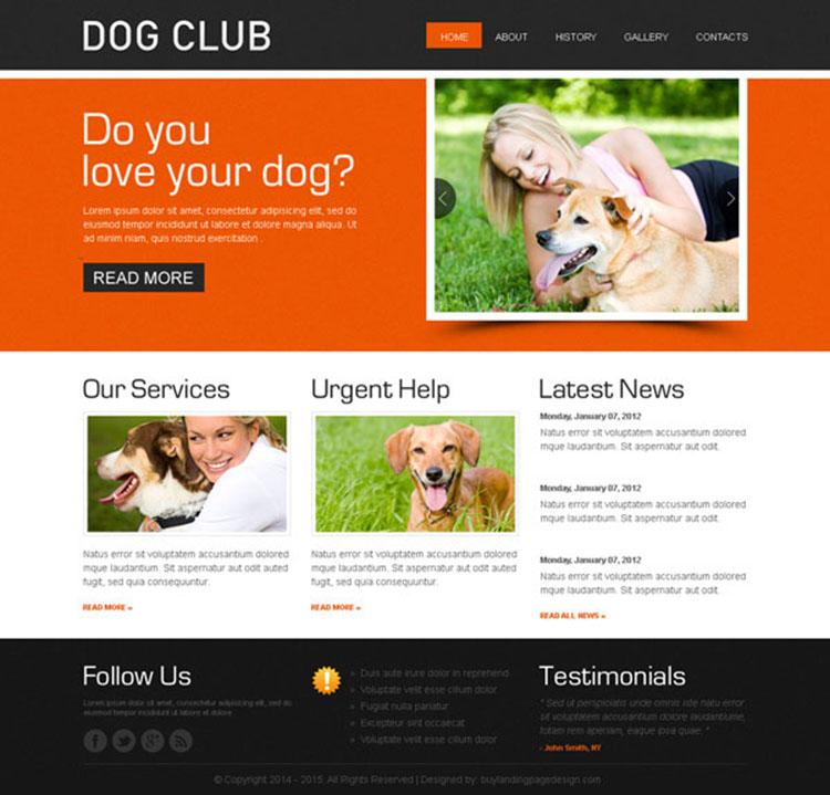 dog club website template design psd