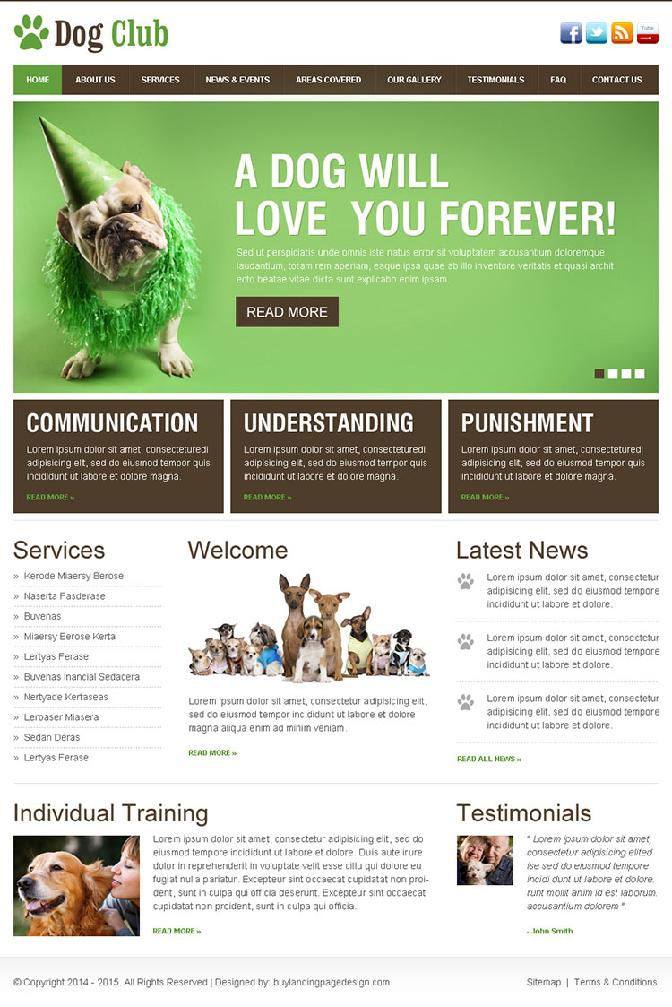 dog lovers club beautiful and clean html website template