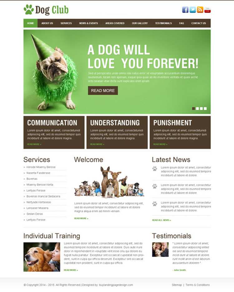 dog lover club website template design psd