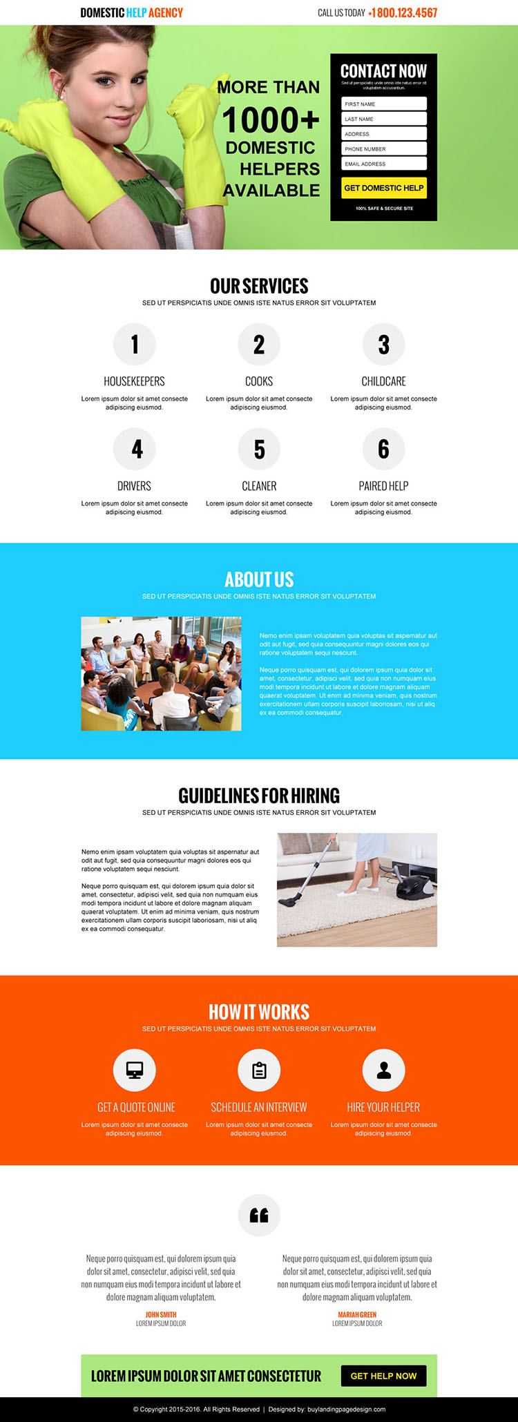 domestic help agency responsive lead capture landing page design
