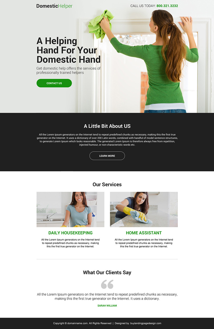 domestic helper lead capturing mini landing page design