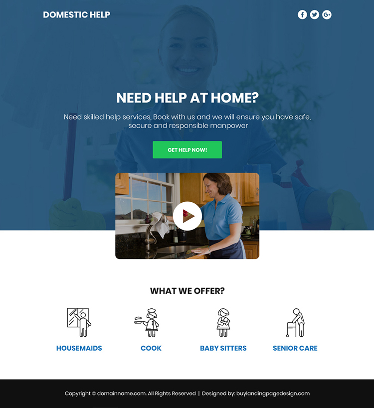 domestic help service responsive video funnel page design