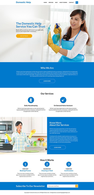 clean domestic help service website design