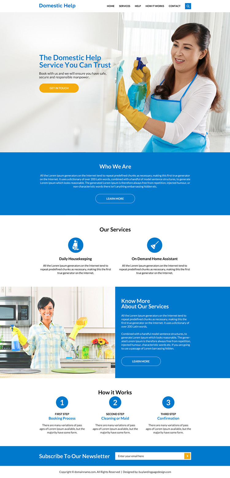 domestic help service responsive website design