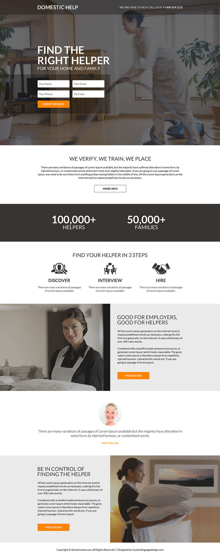 professional domestic helper lead generating landing page design
