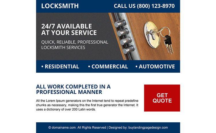 domestic locksmith services ppv landing page design