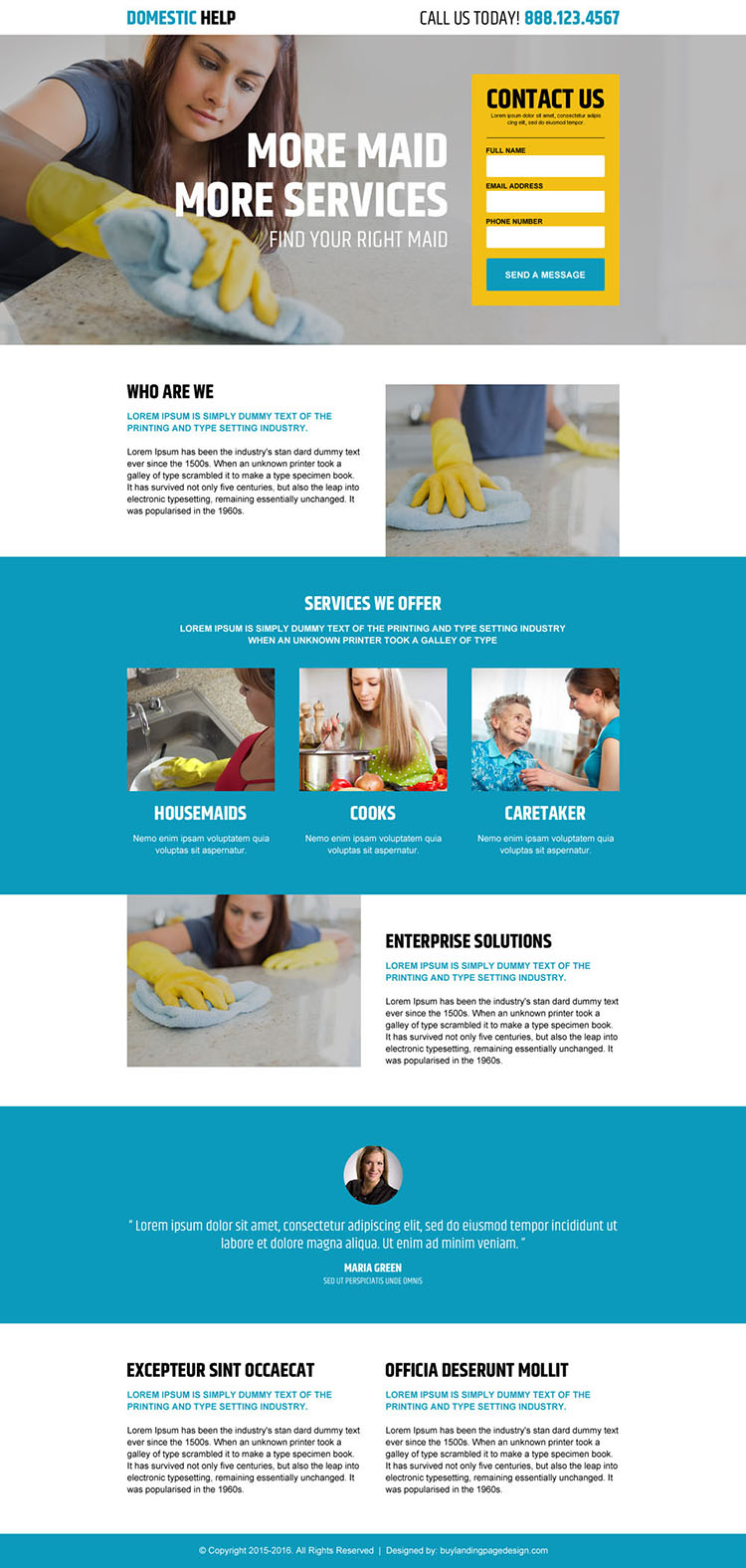 domestic maid agency service responsive landing page design