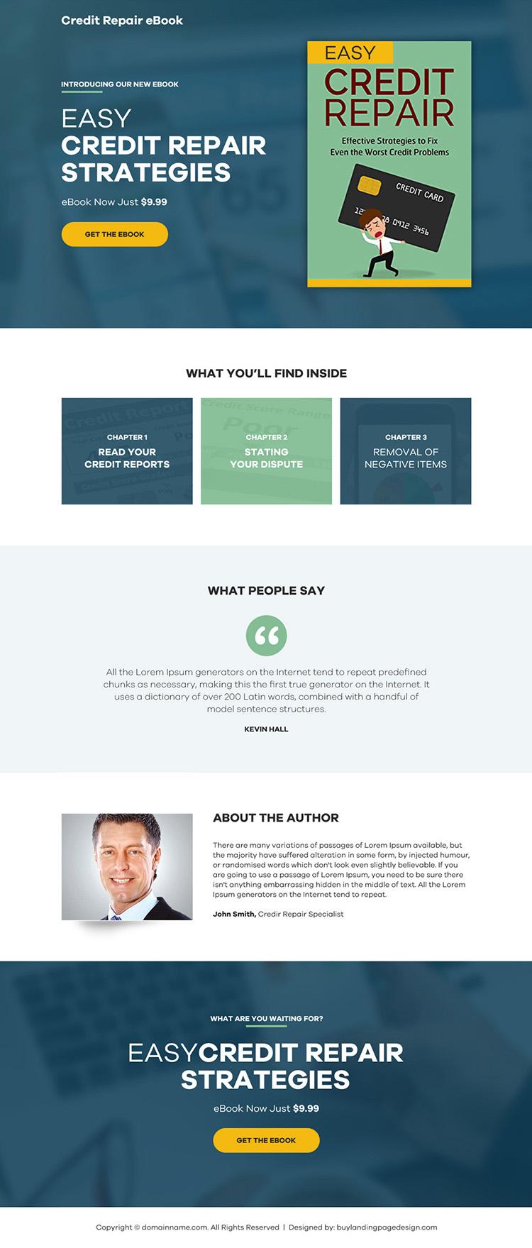 credit repair ebook selling responsive landing page design