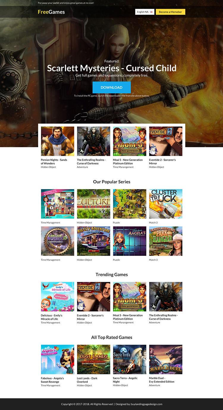 download free games signup capturing responsive landing page design
