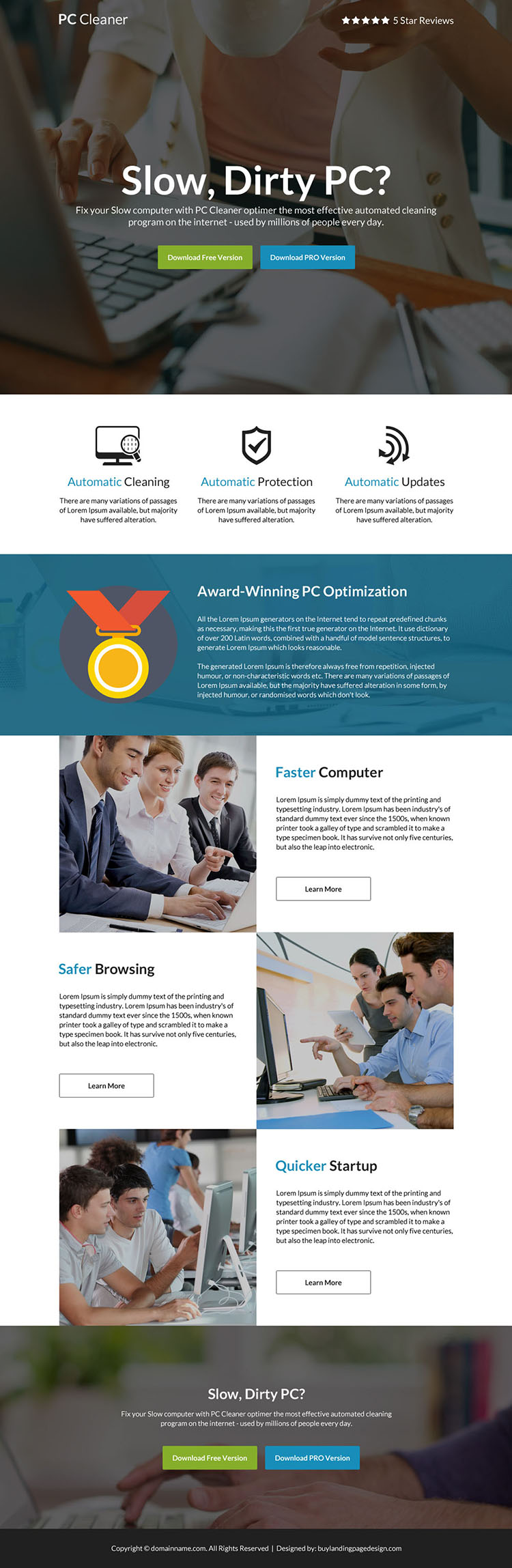 download computer cleaner software selling responsive landing page