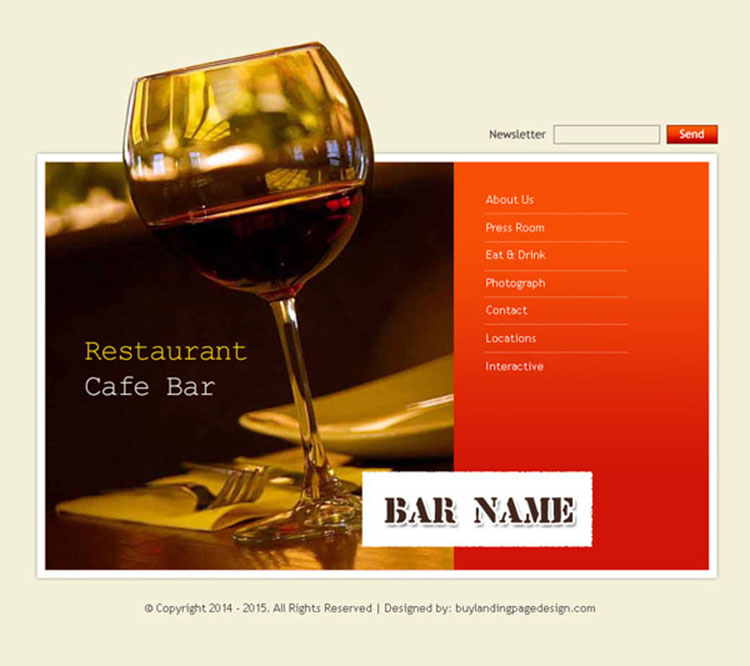 restaurant bar and cafe website template design psd for your bar website