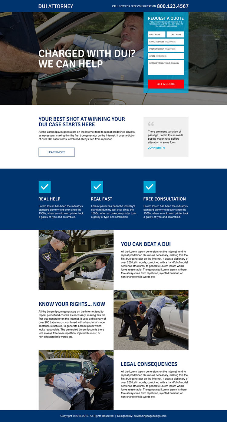 driving under influence attorney responsive landing page design
