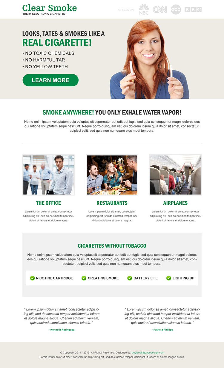 electronics cigarette product landing page design