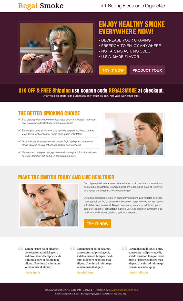 enjoy healthy smoke everywhere now e-cigarette video landing page design