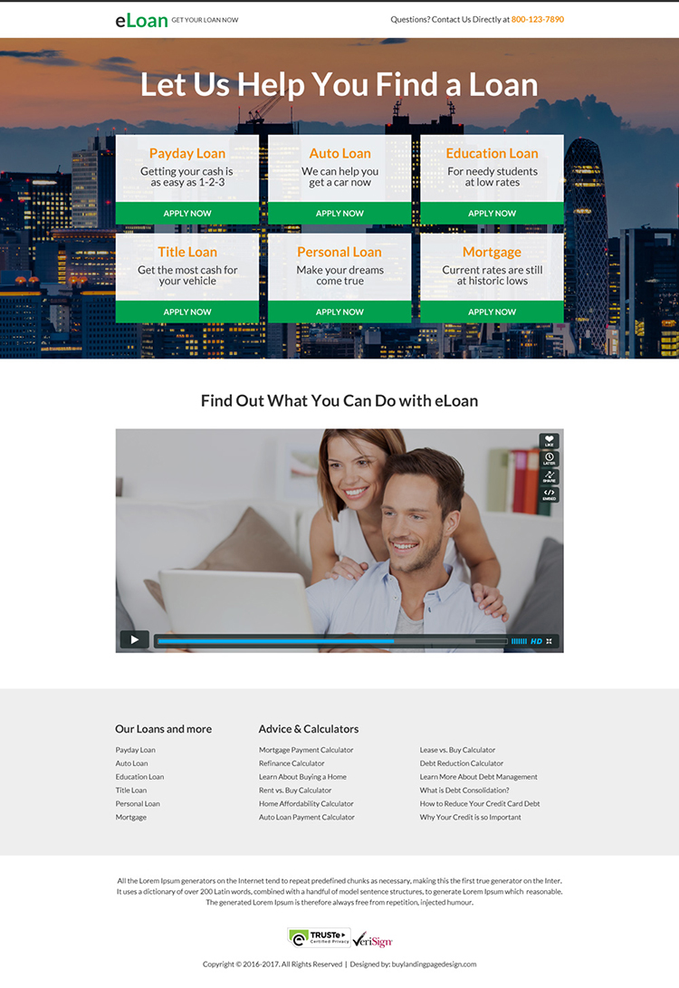 minimal loan landing page design with video