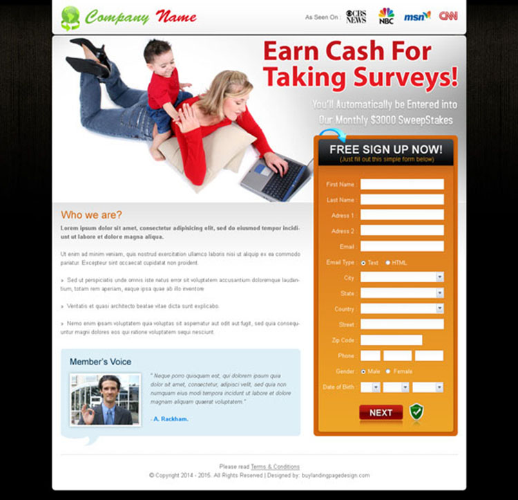 earn cash online appealing lead capture landing page design for sale