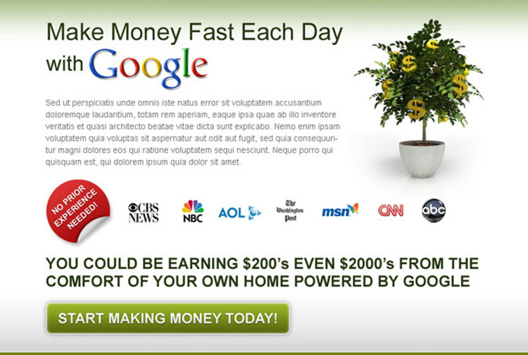 make money today with google effective and converting call to action ppv lander design