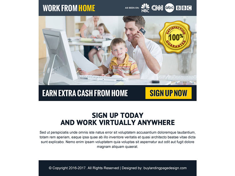 earn extra cash from home ppv landing page design