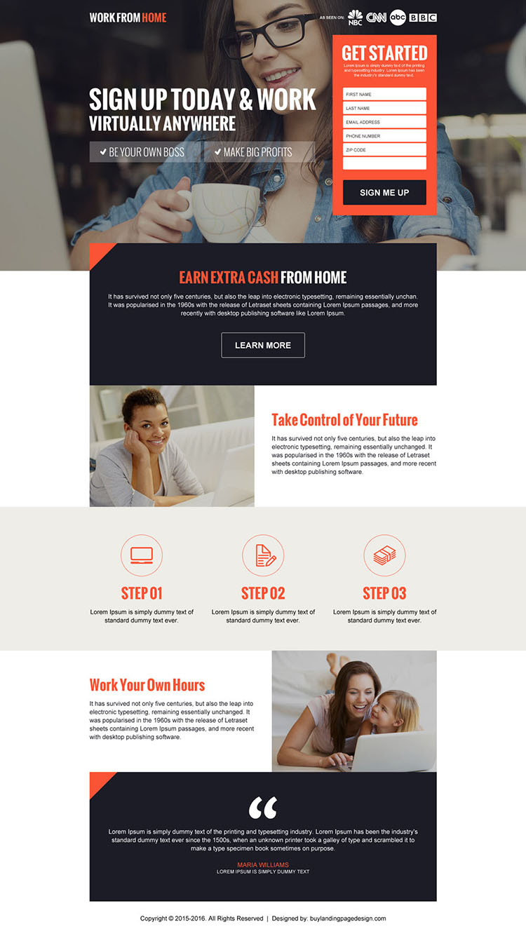 earn extra cash from home responsive landing page design