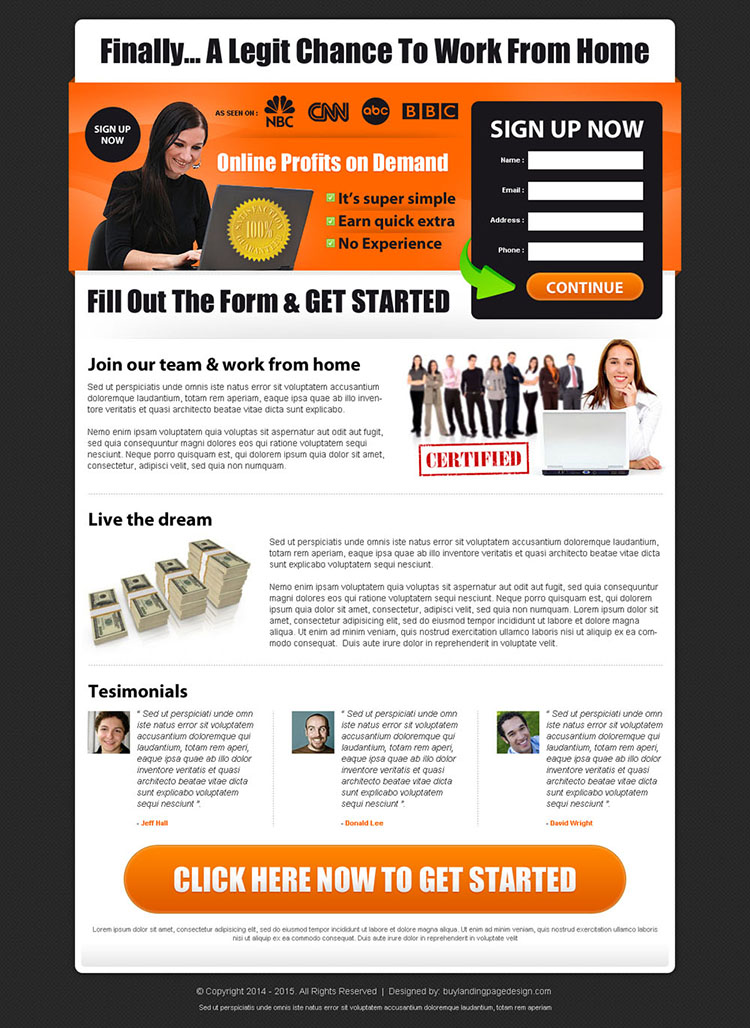 online profits on demand sign up form lead capturing landing page design