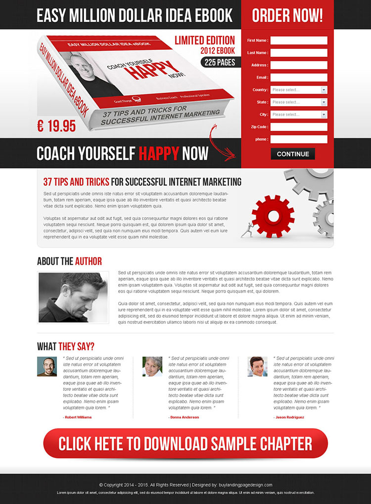 easy million dollar idea ebook order now converting lead capture landing page