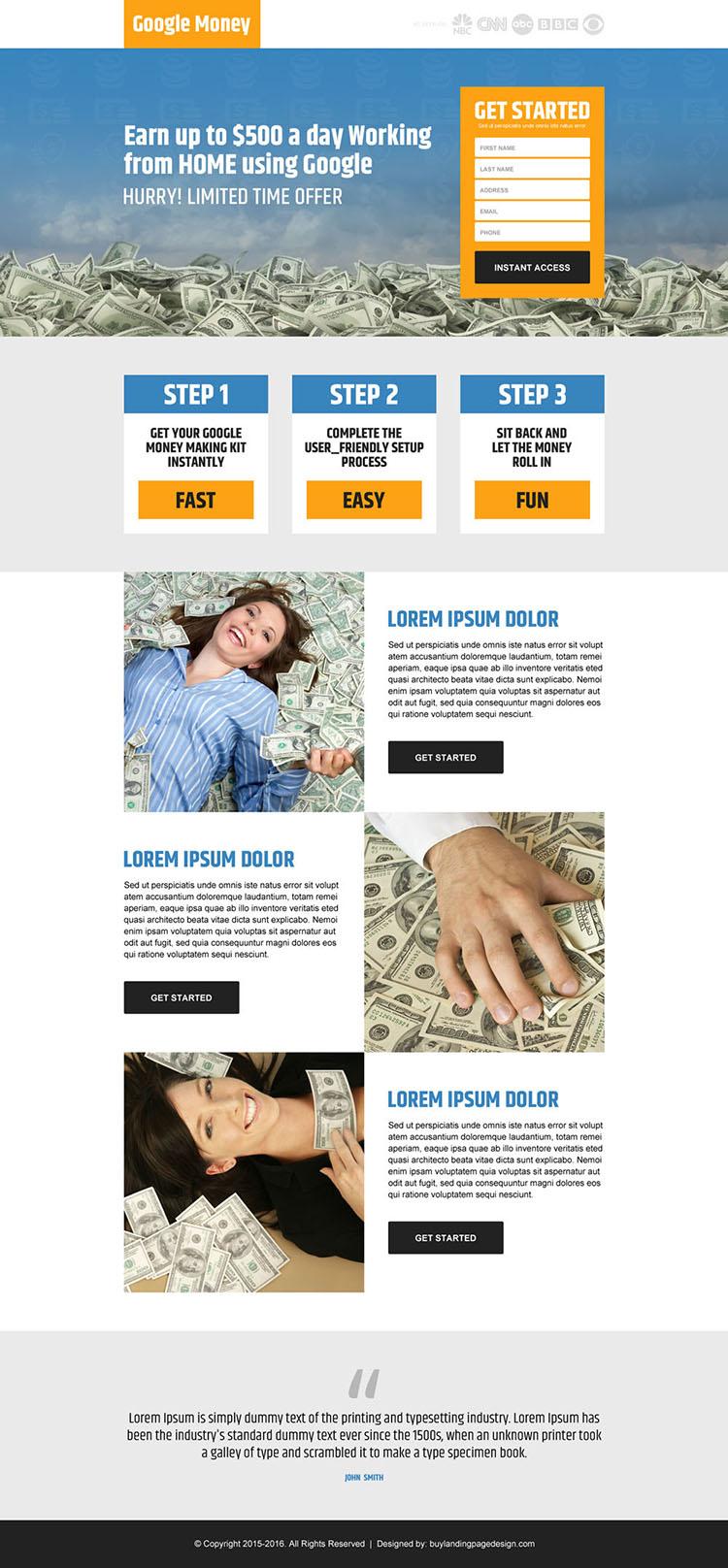 google money clean lead generating landing page design
