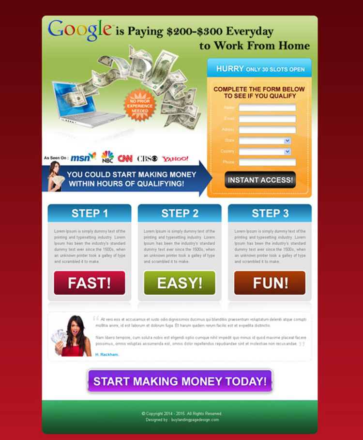 make money with google squeeze page design