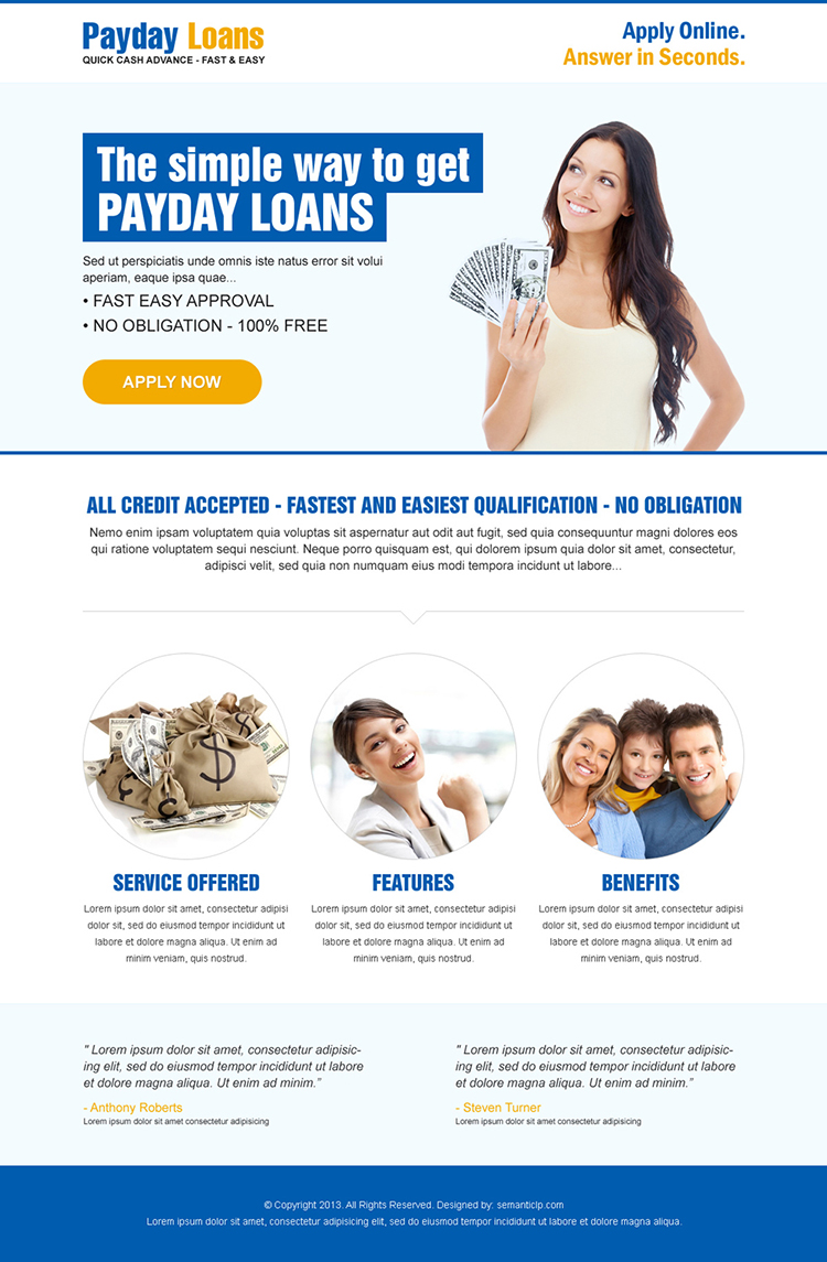 simple way to get payday loan call to action clean landing page
