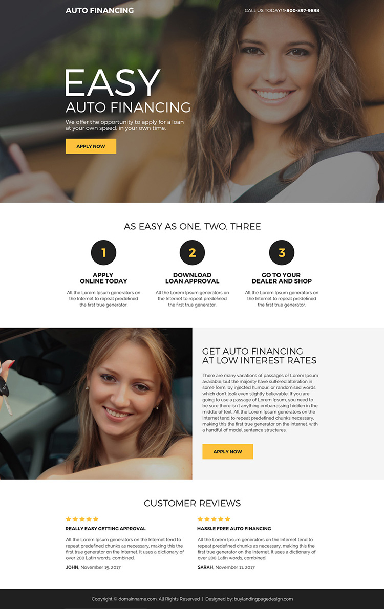 easy auto financing mini landing page design
