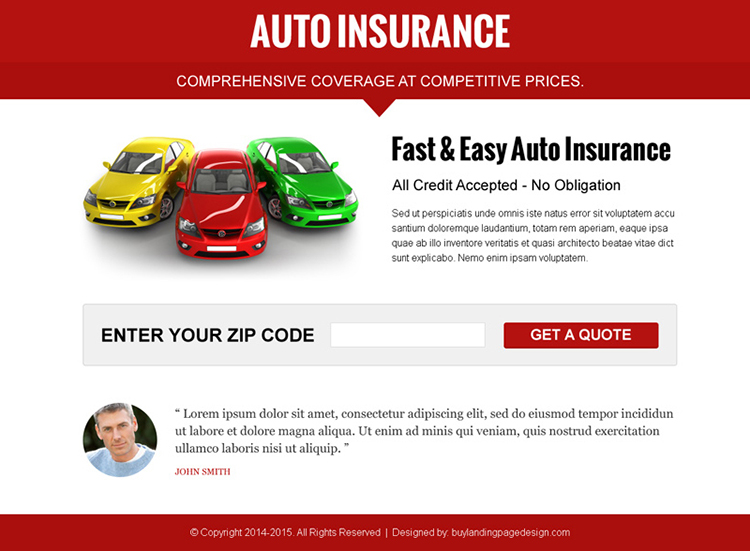attractive auto insurance by zip code ppv landing page