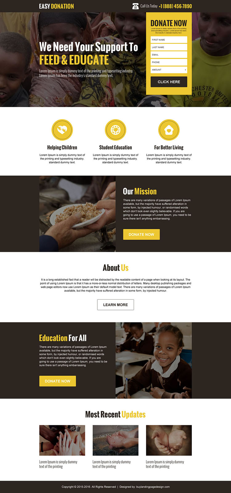 easy donation landing page design template