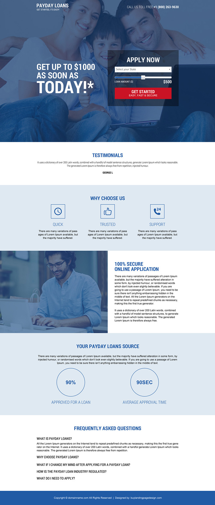 professional payday loan landing page design with slider