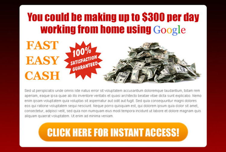 easy fast cash google money ppv landing page design