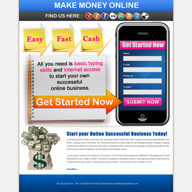 easy fast cash online converting make money online landing page design for sale