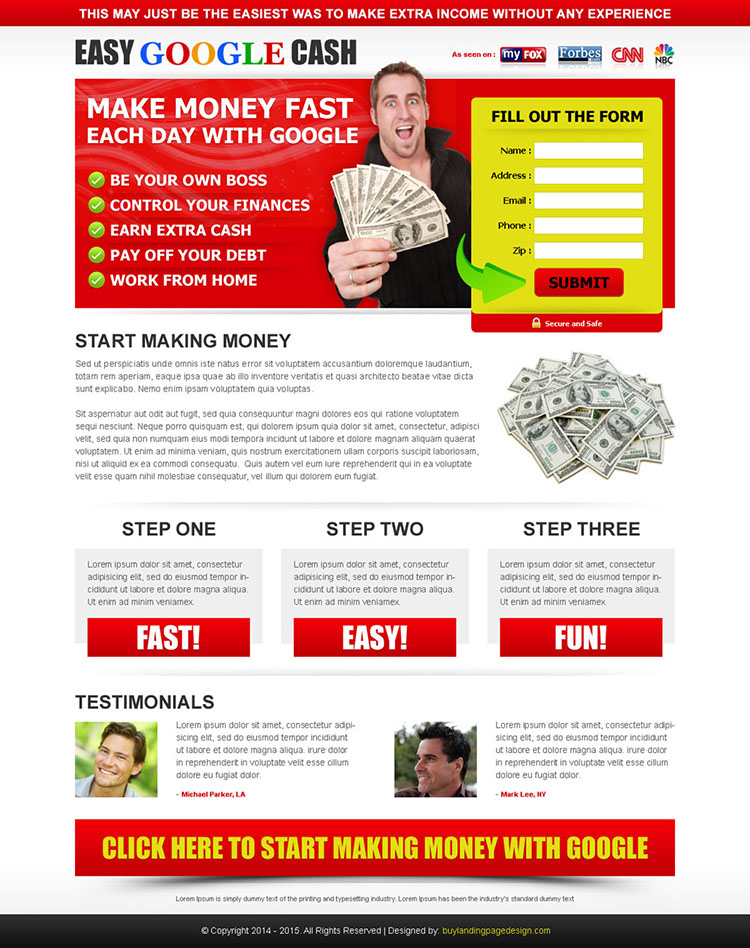 make money fast each day with google attractive and effective squeeze page design