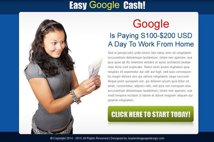 easy google cash call to action ppv landing page design