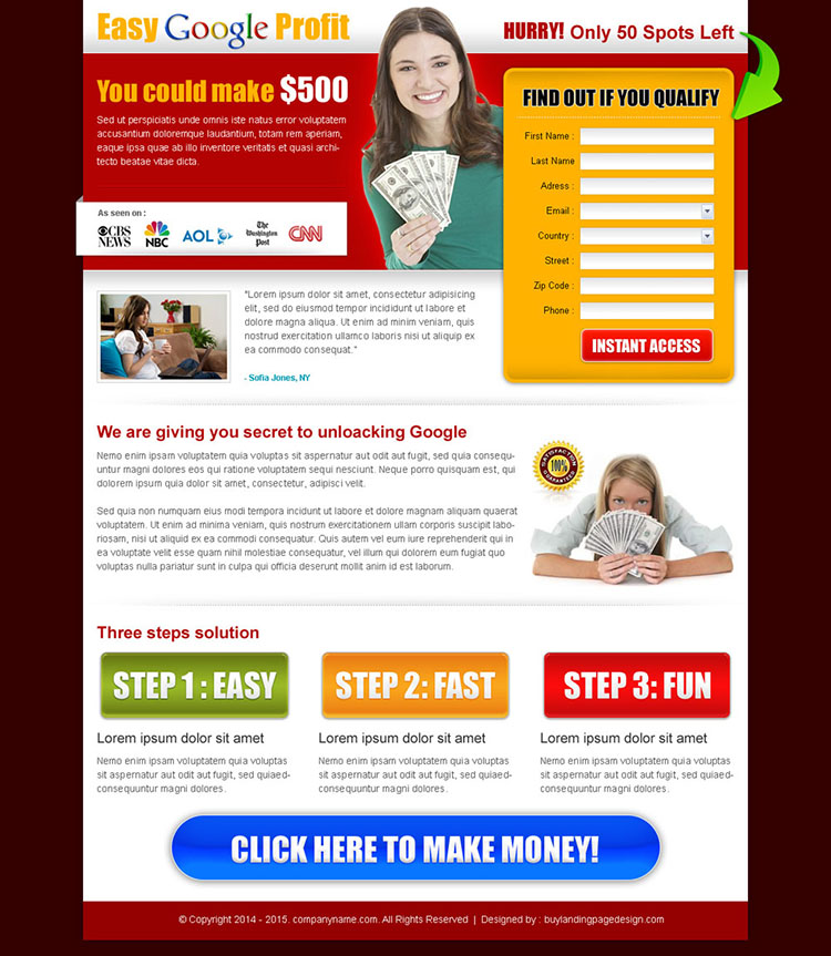 easy google profit landing page design template