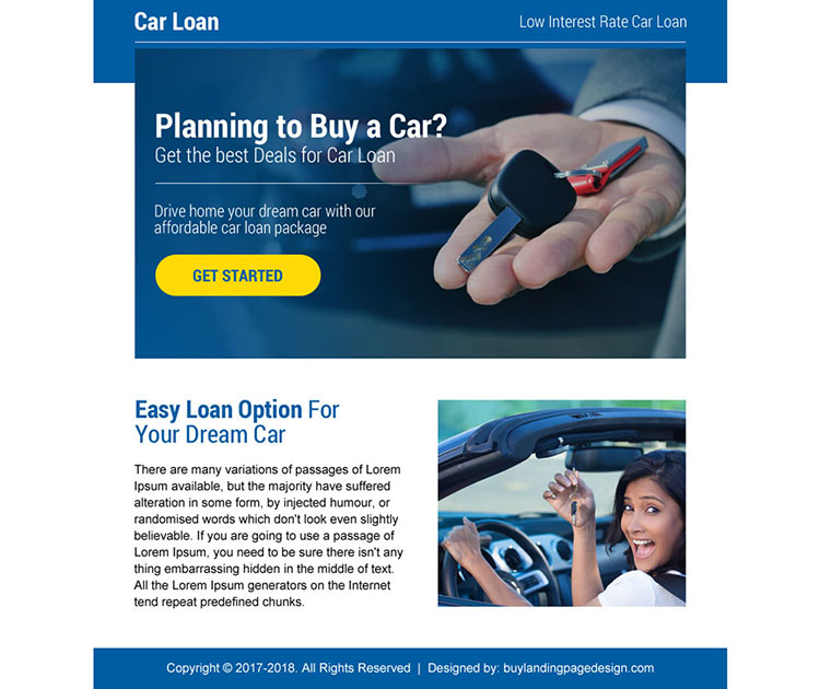 professional car loan strong call to action ppv landing page