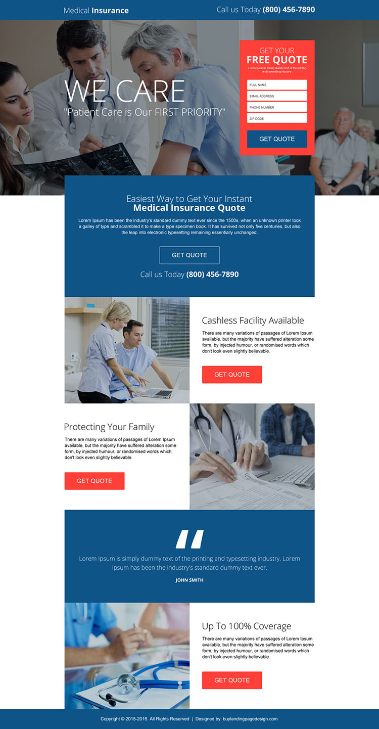 easy medical insurance quote responsive landing page